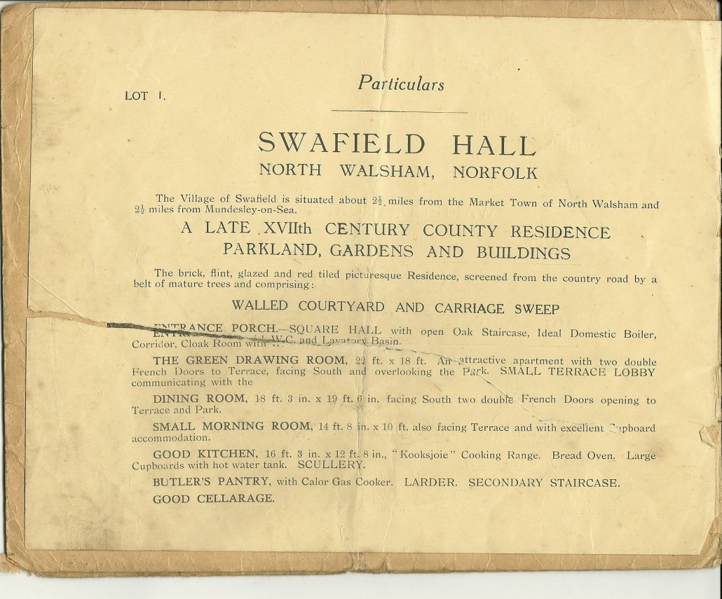 Harrods 1947 auction catalogue for Swafield Hall